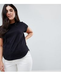 ASOS Black T-shirt In Boyfriend Fit With Rolled Sleeve And Curved Hem
