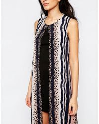 Liquorish - Black Layered Midi Dress In Animal Print - Lyst