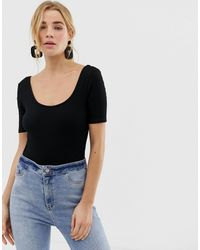 New Look Black 3/4 Sleeve Bodysuit