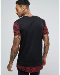 ASOS - Black Super Longline T-shirt With Contrast Geo- Print Sleeves And Hem for Men - Lyst