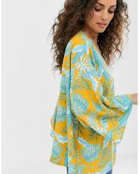 Kimono à imprimé palmier ASOS en coloris Multicolor