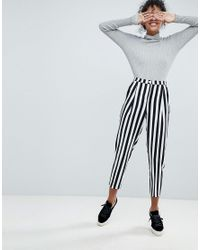 Monki - Multicolor Stripe Cropped Slim Trousers - Lyst