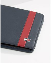 Tommy Hilfiger - Blue Colour Block Leather Mini Billfold Wallet - Lyst