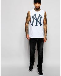 Majestic White Yankees Vest With Dropped Armhole for men