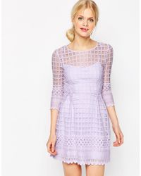 ASOS - Pink Mesh Skater Dress With Embroidered Border - Lyst