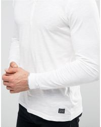 Blend Long Sleeve Grandad Top Off White for men