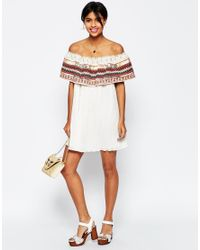 ASOS - White Aztec Trim Off Shoulder Sundress - Lyst