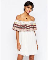 ASOS - White Aztec Trim Off Shoulder Sundress - Lyst