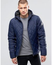 Blend | Blue Hooded Quilted Jacket Navy for Men | Lyst
