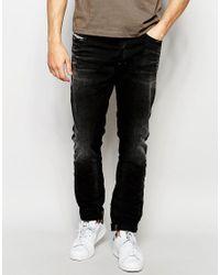 DIESEL | Jeans Tepphar 666q Skinny Fit Stretch Washed Black for Men | Lyst