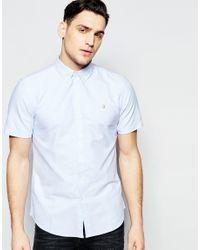 Farah - Blue Oxford Shirt In Slim Fit Short Sleeves for Men - Lyst