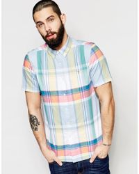 Farah - White Shirt With Oxford Check Slim Fit Short Sleeves for Men - Lyst