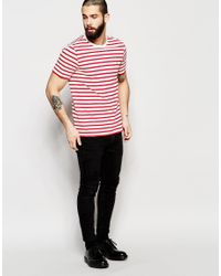 Farah - Red T-shirt With Breton Stripe Slim Fit for Men - Lyst