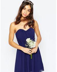 TFNC London Blue Wedding Bandeau Chiffon Mini Dress