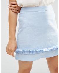 ASOS | Blue A-line Mini Skirt With Ruffle Hem | Lyst
