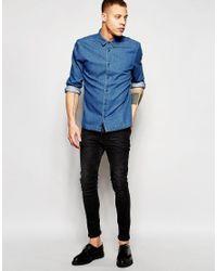 WÅVEN Denim Shirt Mimir Slim Fit Sea Blue Mid Wash for men