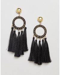 ASOS - Metallic Asos Statement Woven Open Circle Tassel Earrings - Lyst
