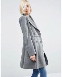 ASOS | Gray Skater Coat In Wool Blend With Biker Detail | Lyst
