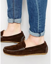 Tommy Hilfiger - Brown Suede Alfa Loafers - Lyst