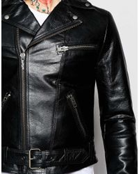 Nudie Jeans - Black Ziggy Leather Biker Jacket for Men - Lyst