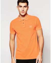 BOSS Orange - Orange Polo Shirt With Logo In Slim Fit for Men - Lyst