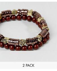 ASOS | Brown Beaded Bracelet Pack With Skull Detail for Men | Lyst