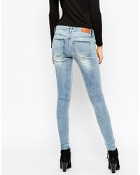 Noisy May Tall - Eve Super Slim Blue Wash Jeans - Lyst