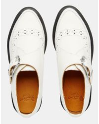 Dr. Martens - White Rousden Pointed Toe Monk Strap Flat Shoes - Lyst