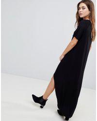 ASOS Black Asos Maxi T-shirt Dress With Curved Hem