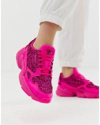 Adidas Originals - Premium Pink Glitter Falcon Sneakers - Lyst