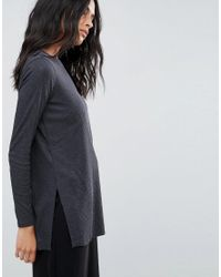ASOS - Gray Top In Textured Rib With Long Sleeves And Side Splits - Lyst