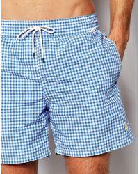 Polo Ralph Lauren Traveller Gingham Quick Dry Swim Shorts - Blue for men
