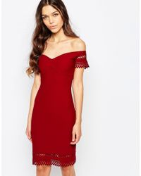 Love Red Laser Cut Off Shoulder Dress