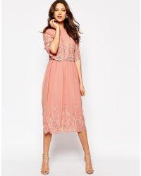 ASOS - Pink Premium Midi Embroidered Dress - Lyst