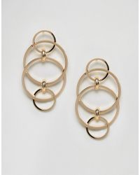 ASOS - Metallic Interlinking Circle Stud Earrings - Lyst