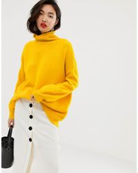 Whistles Yellow Slouchy Funnel Neck Jumper