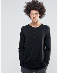 Weekday Pique Front Long Sleeve Grandad In Black for men