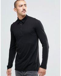 Weekday - Kid Long Sleeve Polo Slub Jersey In Black for Men - Lyst