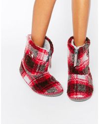 Bedroom Athletics Red Macgraw Checked Slipper Boot