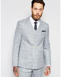 Asos Skinny Double Breasted Suit Jacket In Light Blue Check in
