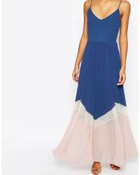 ASOS - Blue Maxi Dress In Pleated Colour Block - Lyst