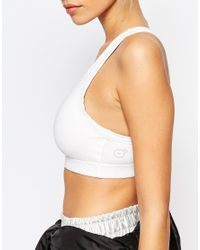 PUMA White Cropped Bralet Top With Logo