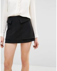Mango Black Large Pocket Mini Skirt