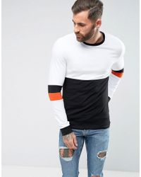 ASOS White Asos Muscle Long Sleeve T-shirt With Stretch And Sleeve Cut And Sew Detail for men