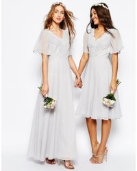 ASOS Gray Wedding Lace And Pleat Maxi Dress