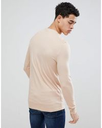 ASOS Natural Muscle Fit Long Sleeve T-shirt With Crew Neck In Beige for men