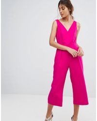 e9dab1b41d9b Oasis Wrap Front Culotte Jumpsuit in Pink - Lyst
