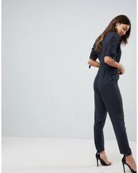 ASOS DESIGN - Black Asos Jumpsuit With Wrap Front And D-ring Detail - Lyst