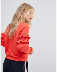New Look Red Frill Sleeve Sweat