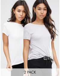 ASOS   White T-shirt With Scoop Back 2 Pack Save 15%   Lyst